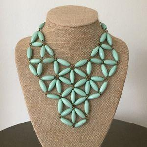 J. Crew mint green bead bib necklace